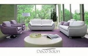 Salon Cuir Blanc : salon contemporain cuir emma ~ Teatrodelosmanantiales.com Idées de Décoration