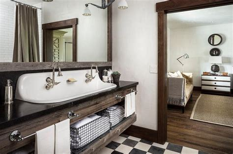 country style bathroom with reclaimed wood sink vanity with trough sink country bathroom