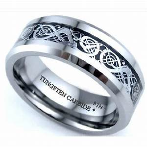 Silver celtic dragon inlay tungsten carbide wedding for Wedding ring fitters