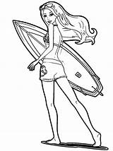 Coloring Pages Barbie Surf Surfing Popular Clipartmag Coloringhome sketch template