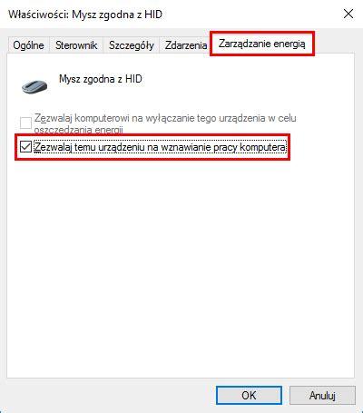 co zrobić gdy nie działa wybudzanie komputera myszką lub klawiaturą