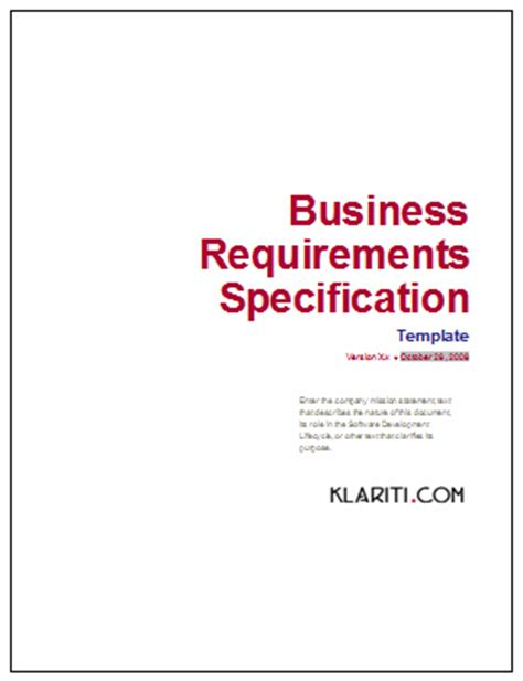 Business Requirement Specification Document Template by Business Requirements Specification Template Ms Word