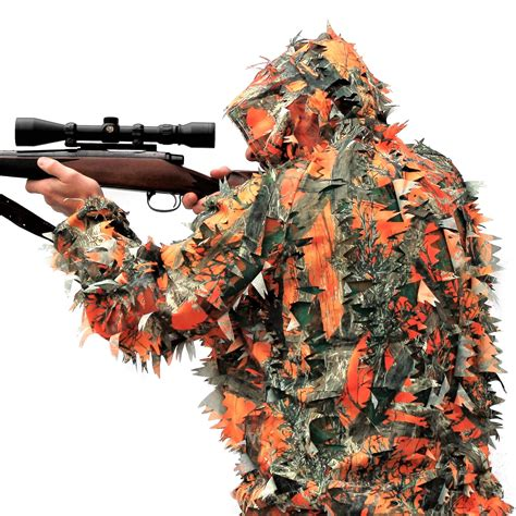 The See3d™ Blaze Orange 3d Leafy Ghillie Camouflage Suit