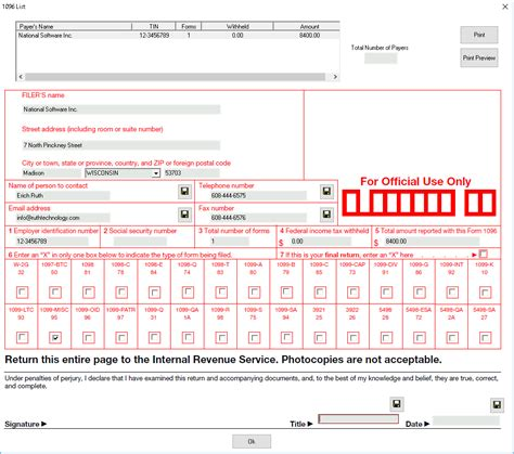 1096 Misc Form 2016 by 1099 Tax Software Blog 187 1099 Software How Can I Print