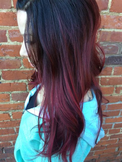 dark brown  red ombre hair stuff dyed hair red