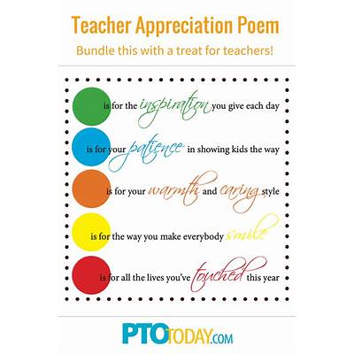 Use this poem with a little gift for teachers during