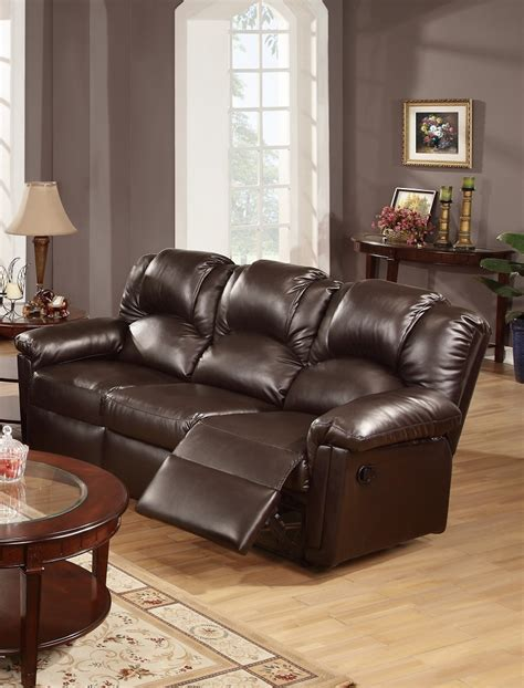 Espresso Leather Loveseat by Espresso Bonded Leather Reclining Sofa