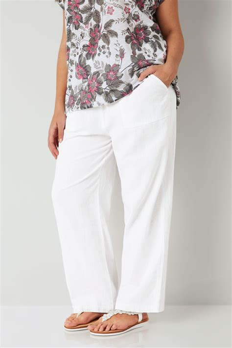 white linen mix pull  wide leg trousers  pockets  size