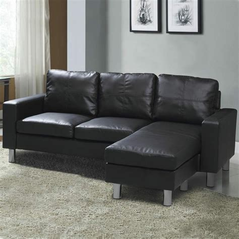 Grey Leather Settee by Modern Compact L Shaped Corner Sofa Settee Black Faux