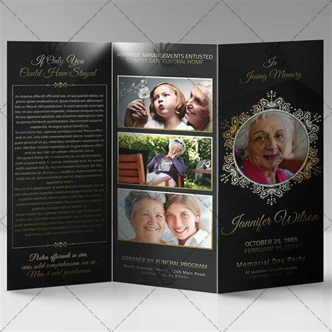memorial program premium tri fold brochure psd template