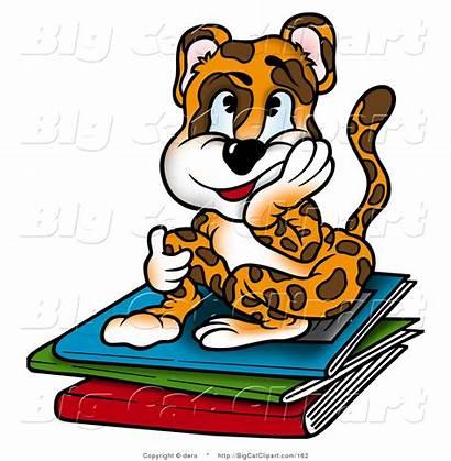 Clipart Leopard Bored Sitting Boy Cat Homework