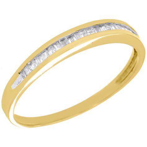 baguette diamond wedding band ladies 10k yellow gold