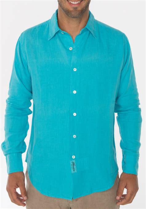 teal mens shirt 100 linen regular fit sleeve button shirt in