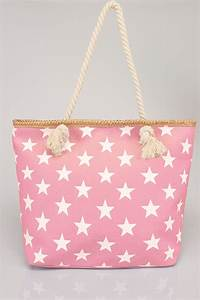 Laundry Load Size Chart Pink White Star Print Beach Bag With Rope Handles