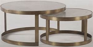 Leonardo white and antique gold nesting coffee tables set for Antique white coffee table sets