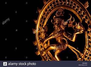 Dancing lord Shiva statue, Nataraja against black
