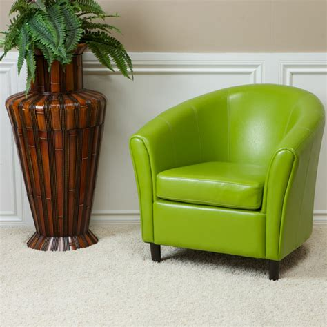 Lime Green Armchair by Contemporary Tub Barrel Design Lime Green Leather Club
