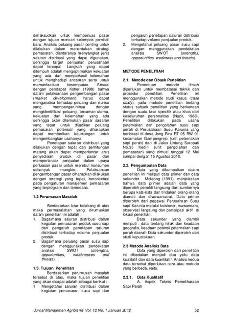 Jurnal manajemen agribisnis vol. 12 no. 1 januari 2012