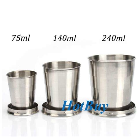 75 ml to cups 75ml 140ml 240ml portable stainless steel folding retractable mini travel cup keychain