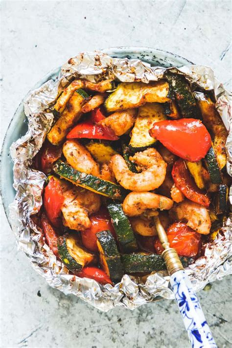 shrimp foil packets  zucchini keto  carb paleo