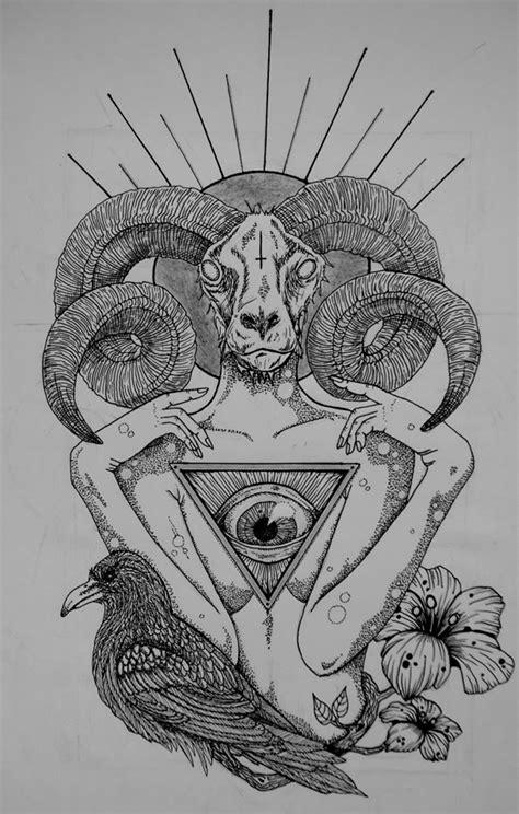 Goat Illuminati by Goat Baphomet Pencil And In Color Goat Baphomet