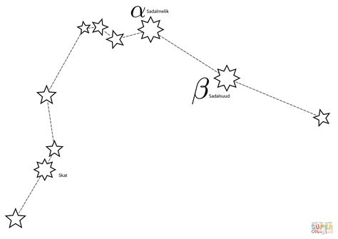 constellation of aquarius worksheet aquarius constellation coloring page free printable