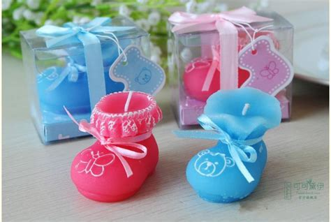 baby shower favor pink blue baby shoes candle