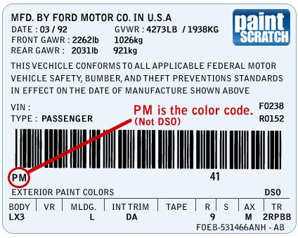 ford touch up paint color code and directions for ford paintscratch com
