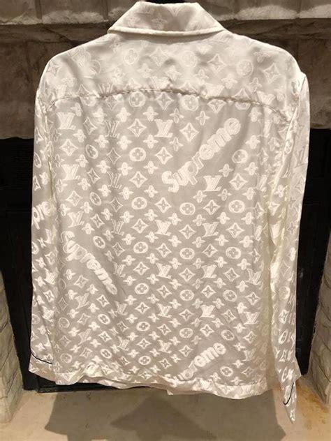 louis vuitton  supreme white box monogram logo lv pajama xlarge button  top size  xl