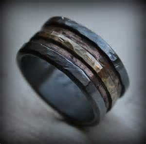 rustic wedding bands mens wedding band rustic silver copper and brass