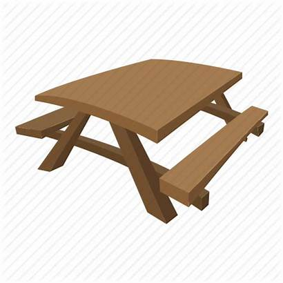 Cartoon Table Wooden Benches Picnic Park Icon