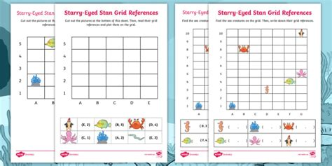 starry eyed stan grid references worksheet activity sheets