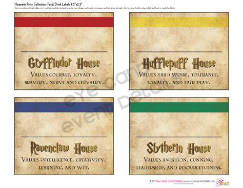 Harry Potter Inspired Hogwarts Printable Party Labels