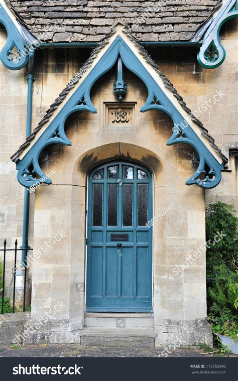 front door victorian era english cottage stock photo