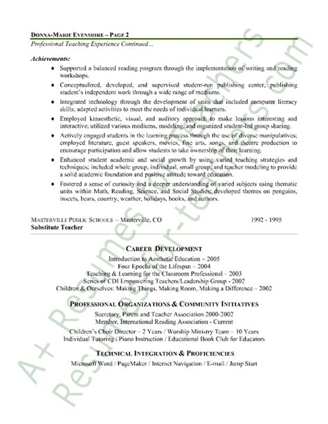 Teaching Resumes For Experienced Teachers by Elementary Resume Sle Page 2 Elementary And Teaching Resume