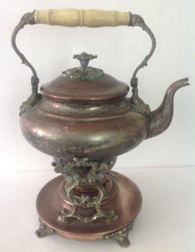 vintage teapots  stand antique victorian copper brass teapot ornate tilt stand  burner