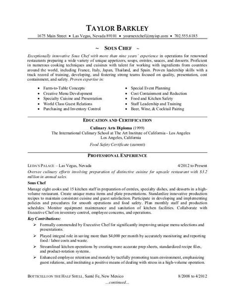 chef sle resume templates sous chef resume sle