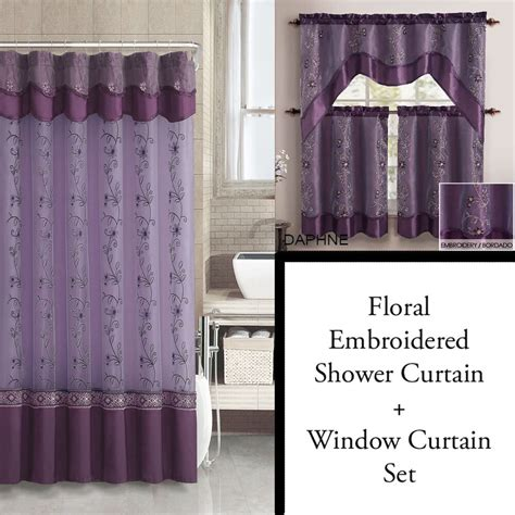 Shower Curtain Set - purple and gold shower curtain and 3pc window curtain set