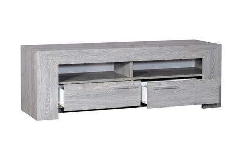 meuble tv gris meuble tv en bois ch 234 ne gris clair 2 portes 2 niches