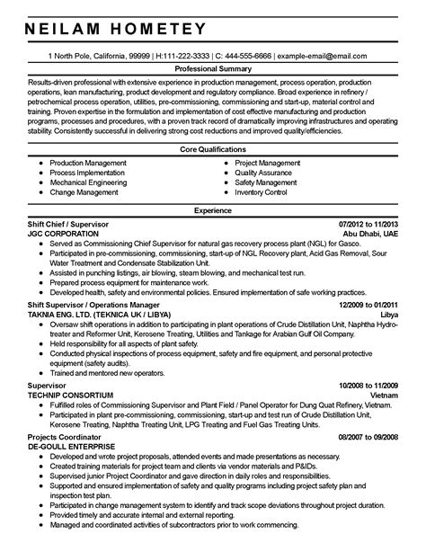 Plant Manager Resume Summary by Professional Production Manager Templates To Showcase Your