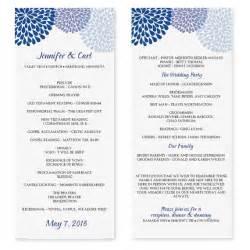 wedding program templates fans wedding program template chrysanthemum blue tea length