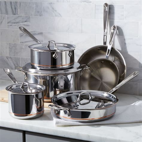 clad copper core  piece cookware set  bonus reviews crate  barrel