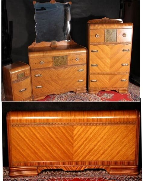 Bedroom Furniture Sets On Ebay by Waterfall Bedroom Set Deco Dresser Mirror Chest