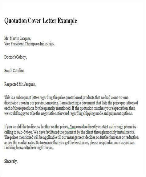 quotation cover letter  quotation cover letter