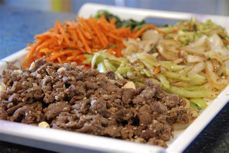 bulgogi recipe japchae and beef bulgogi two red bowls