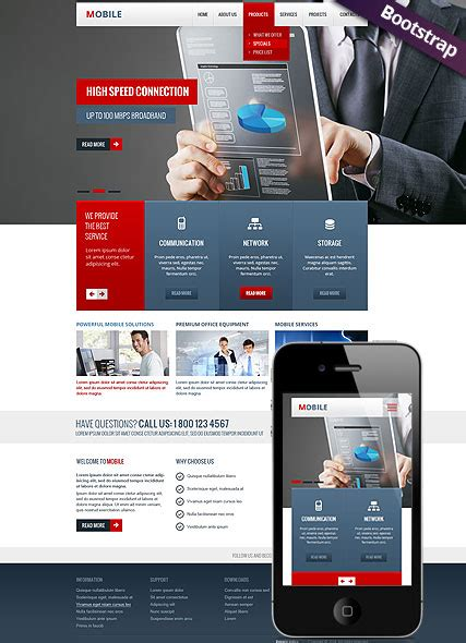 bootstrap mobile template mobile bootstrap template id 300111730