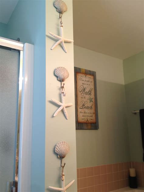 beach bathroom decor beach shell hooks from kohl s and