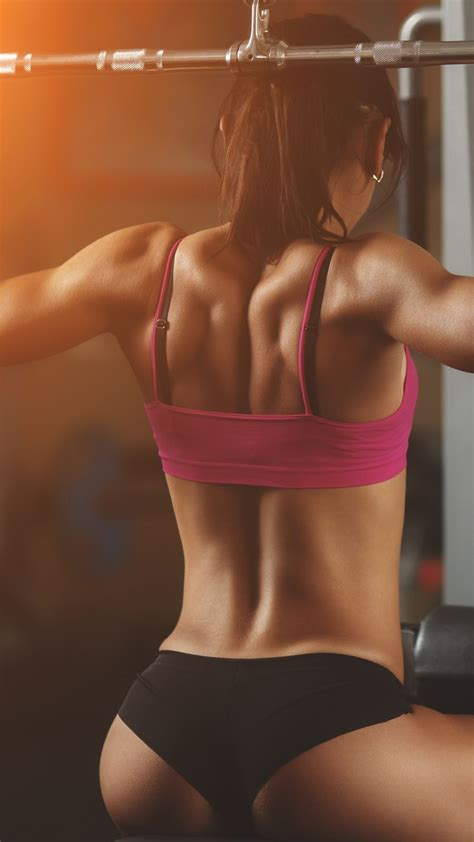 fitness girl gym training tight clothes iphone wallpaper