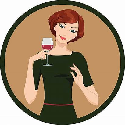 Drinking Wine Woman Vector Glass Illustration Clipart