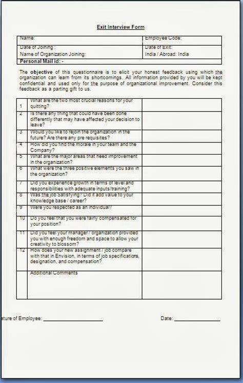 exit interview forms templates exit interview form for employees